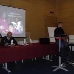 Davide Nicola in ...cattedra,  con Pino Burroni ( foto Tarquini)